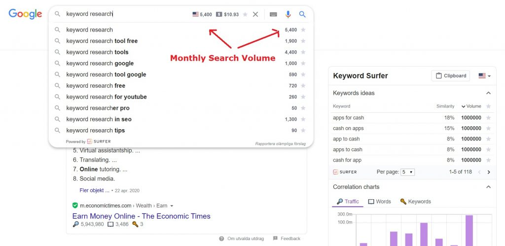 affiliate marketing keyword research tool example